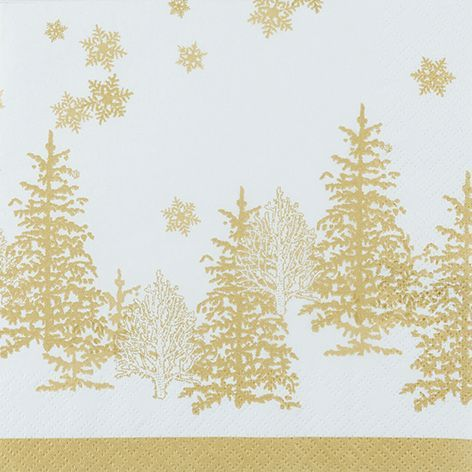 Servetten Trees and Snowflakes Goud - 20 stuks papier